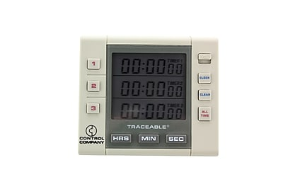 Control Company Traceable Three-Channel Alarm Timer, 100 Hours