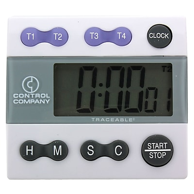 Control Company Traceable Big Digit Four-Channel Alarm Timer, 100 Hours
