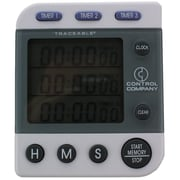 Control Company Traceable Three-Line Alarm Timer, 100 Hours