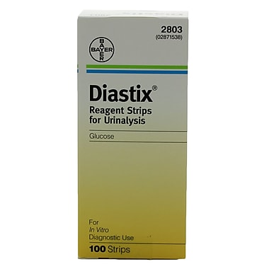 Miles Diastix Test Strips, 0-2000 mg/dL, 100/Pack