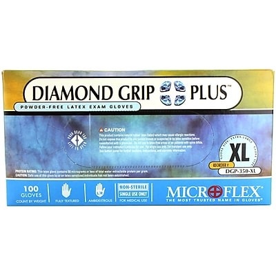 Micro flex Diamond Grip Plus Latex Gloves, XL, 100/Pack