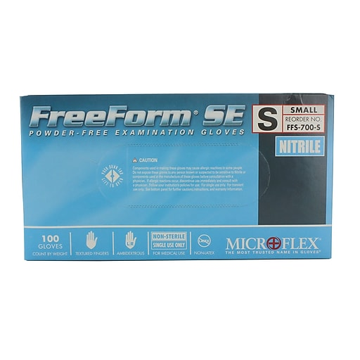 Micro flex FreeForm SE Nitrile Gloves, Small, 100/Pack