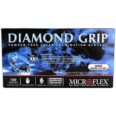 Micro flex Diamond Grip Latex Gloves, Large, 100/Pack
