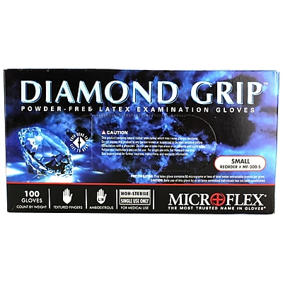 Micro flex Diamond Grip Latex Gloves, Small, 100/Pack