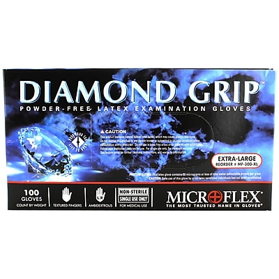 Micro flex Diamond Grip Latex Gloves, XL, 100/Pack