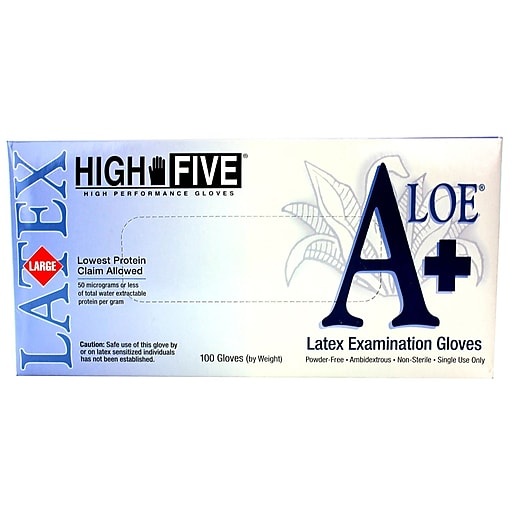 High Five Products Inc Latex Gloves, Large, Pack