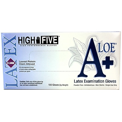 High Five Products Inc A+ Aloe Latex Gloves, XL 100/Pack (L934 PK)
