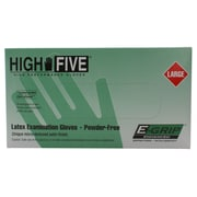 High Five Products Inc E-grip Latex Gloves, Large, 100/Pack