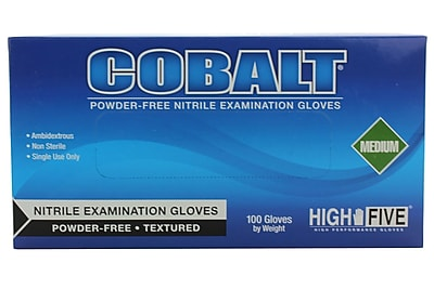 High Five Products Inc Nitrile Gloves, Medium, Cobalt, 100/Pack