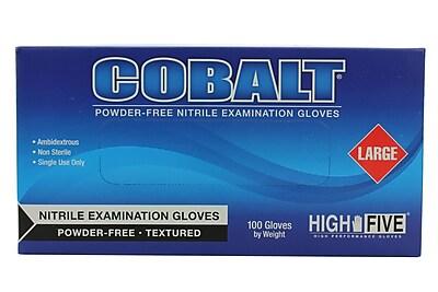 High Five Products Inc Nitrile Gloves, Cobalt, Large, 1000/Case