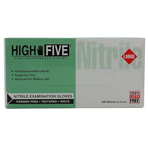 High Five Products Inc Nitrile Gloves, Large, White, 1000/Case