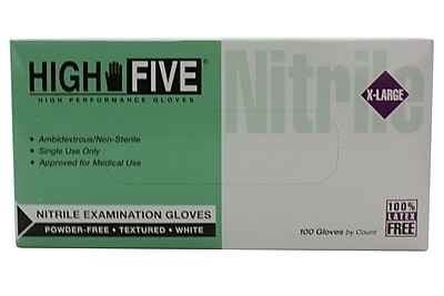 High Five Products Inc Nitrile Gloves, XL, White, 100/Pack