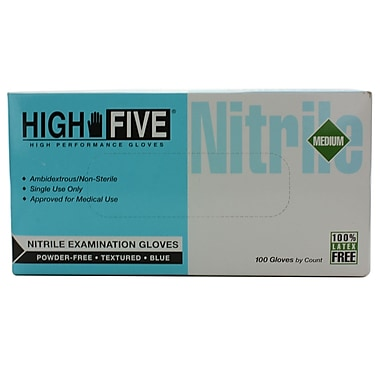High Five Products Inc Nitrile Gloves, Medium, 100/Pack