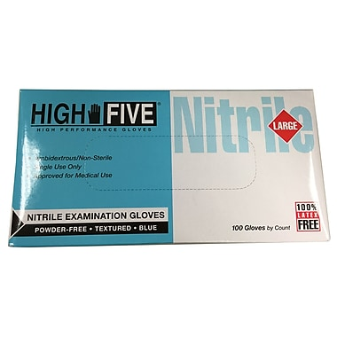 High Five Products Inc Nitrile Gloves, Large, 100/Pack