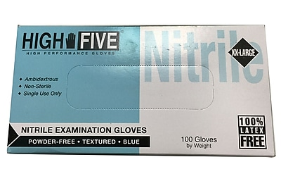 High Five Products Inc Nitrile Gloves, 2XL, 1000/Case