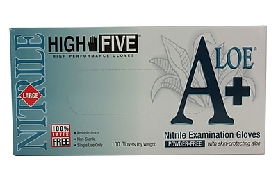High Five Products Inc A+ Aloe Nitrile Gloves, Large, 100/Case
