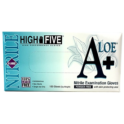 High Five Products Inc A+ Aloe Nitrile Gloves, XL, 100/Case