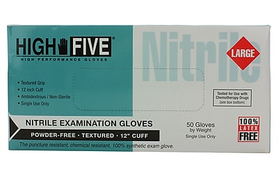 High Five Products Inc Nitrile Gloves, Blue, Large, 50/Pack