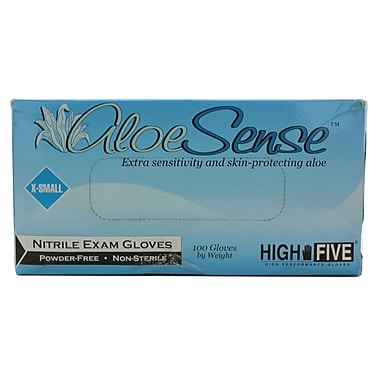 High Five Products Inc Nitrile Gloves, Aloe, X-Small, 100/Pack