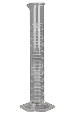 Kimble Chase LLC Educational Grade Cylinder with White Metric Scale, 50ml