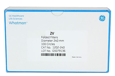 Whatman GE Healthcare Biosciences Filter Paper, Grade 2V, 9.45