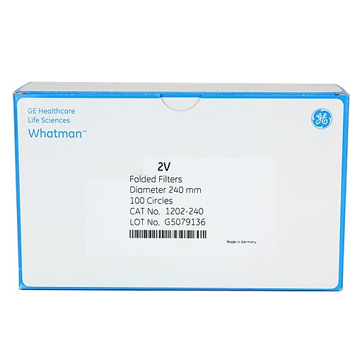 "Whatman GE Healthcare Biosciences Filter Paper, Grade 2V, 9.45"", 100/Pack"