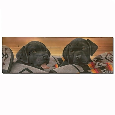 WGI GALLERY Pups Black by Jerry Gadamous Graphic Plaque; 8'' H x 24'' W x 1'' D