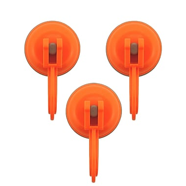 Wall Mates Push 'N Stay Small Suction Hook (Set of 3); Orange