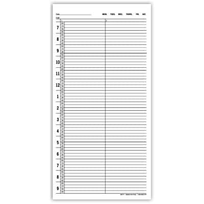 Multi-Copy Standard Scheduling Sheets, 7:00am-10:00pm, 15-Minute Intervals, 2 Columns