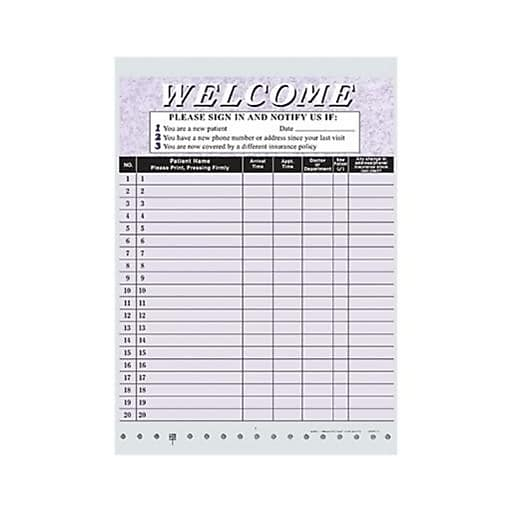 medical arts press privacy sign in sheet purple staples