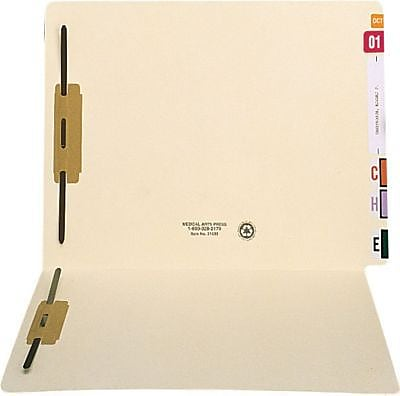 Medical Arts Press® Extended End-Tab Folders with Two Fasteners, Fastener Positions 1 & 3, 14 Pt.
