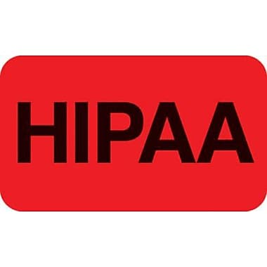 Patient Record Labels, HIPAA, Fluorescent Red, 0.875 x 1.5 inch, 250 Labels