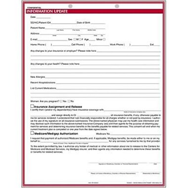 Medical Arts Press Dental Chart Forms For Adult Patients, Information Update