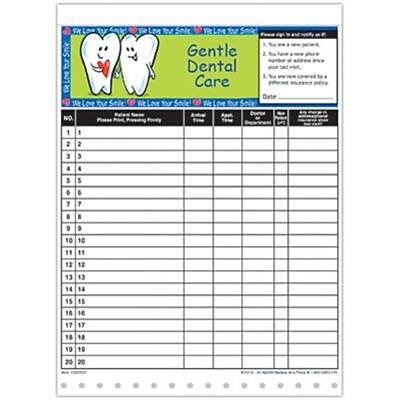 Medical Arts Press Designer Privacy Sign-In Sheets, Gentle Dental