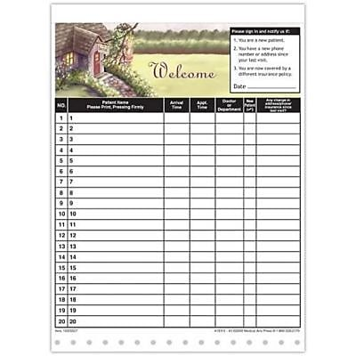 Medical Arts Press Designer Privacy Sign-In Sheets, Dental Cottage