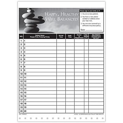 Medical Arts Press Designer Privacy Sign-In Sheets, Balanced Rocks