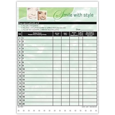 Medical Arts Press Designer Privacy Sign-In Sheets, Smile with Style