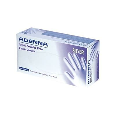 Adenna® Silver Latex Powder-Free Exam Gloves, White, Small, 100/Box