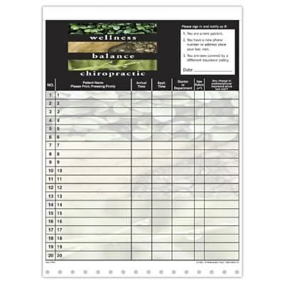 Medical Arts Press Designer Privacy Sign-In Sheets Wellness