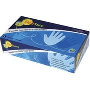 BeeSure Nitrile Powder-Free Exam Gloves, Blue, Large, 100/Box