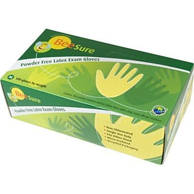 BeeSure Latex Powder-Free Exam Gloves, White, Large, 100/Box