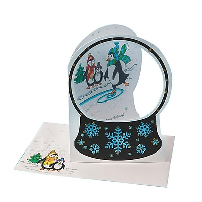 S&S Worldwide Snow Globe Greeting Cards Craft Kit, 24/Pack