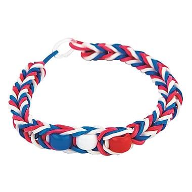 Pepperbell Braiding Patriotic Rubber Band Bracelet Craft Kit, 48/Pack