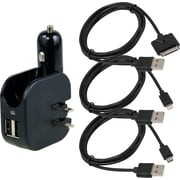 Kasno Car and Home Dual USB Charger with Apple and Micro USB Cables, Black (KASChrgKit1)