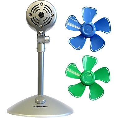 Keystone 10-Inch Flower Fan with Interchangeable Heads Fan, Blue & Green