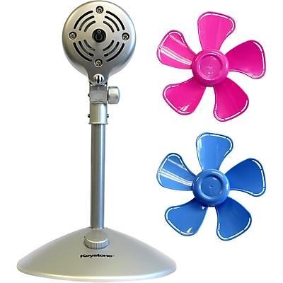 Keystone 10-Inch Flower Fan with Interchangeable Heads Fan, Pink & Blue