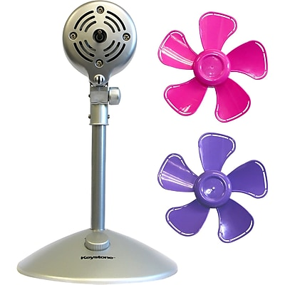 Keystone 10-Inch Flower Fan with Interchangeable Heads Fan, Purple & Pink