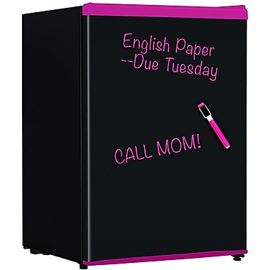 Keystone 2.4-Cubic Feet Compact Refrigerator with Wipe-Off Board Front, Black with Pink trim
