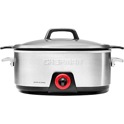 Chefman 6 Qtr. Slow Cooker with Die-Cast Insert, Silver & Black