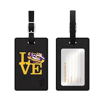 Centon Black Leather Love Bag Tag, Louisiana State University